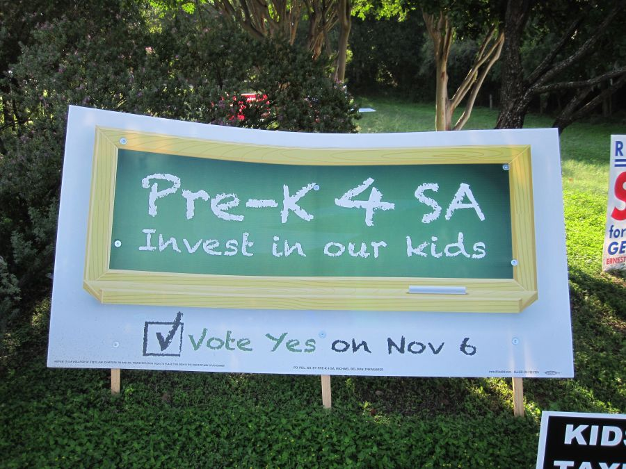 Pre-K 4 SA official sign full day early childhood education preschool san antonio Julian Castro brainpower initiative