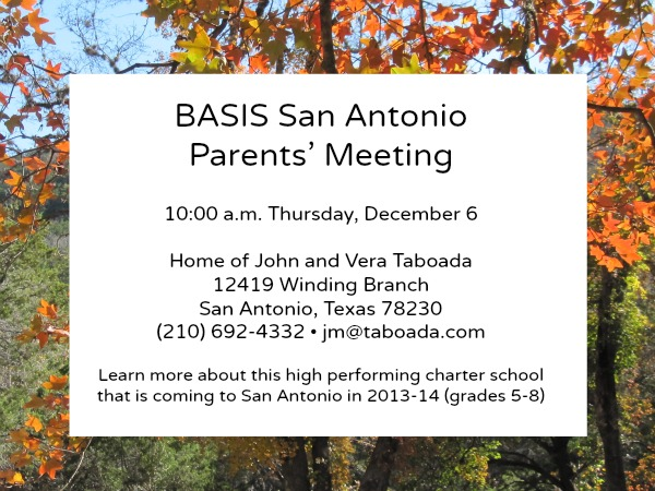 BASIS Schools Inc San Antonio Texas charter school parents meeting John Taboada Vera Taboada Elm Creek