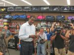 David Robinson at Academy talking to IDEA Carver students ready to shop for San Antonio Spurs gear for NBA Finals | San Antonio Charter Moms