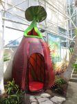 Tropical pitcher plant nepenthes sculpture Savage Gardens exhibit carnivorous plants San Antonio Botanical Garden Texas