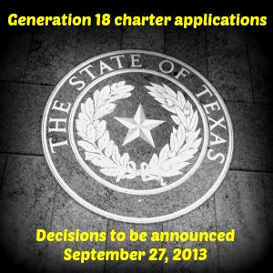Generation 18 charter application decisions to be announced September 27, 2013   San Antonio Charter Moms