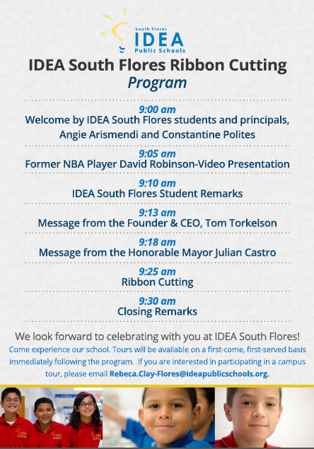 IDEA South Flores ribbon cutting invitation 2 | San Antonio Charter Moms