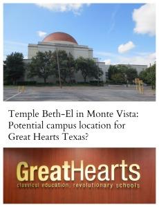 Temple Beth-El in Monte Vista: Potential campus location for Great Hearts Texas?   San Antonio Charter Moms