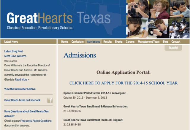 Great Hearts Texas online application   San Antonio Charter Moms
