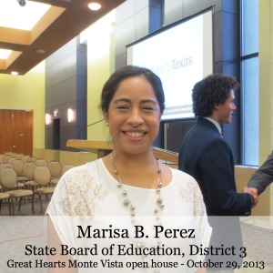 Marisa B. Perez, State Board of Education, District 3, at Great Hearts Monte Vista | San Antonio Charter Moms