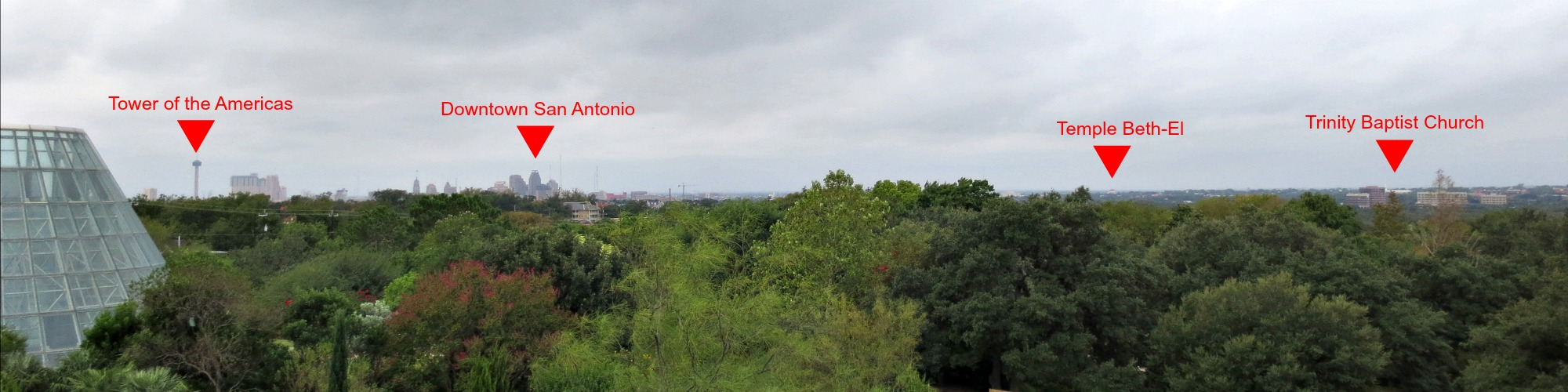 Downtown San Antonio skyline with charter schools marked | San Antonio Charter Moms