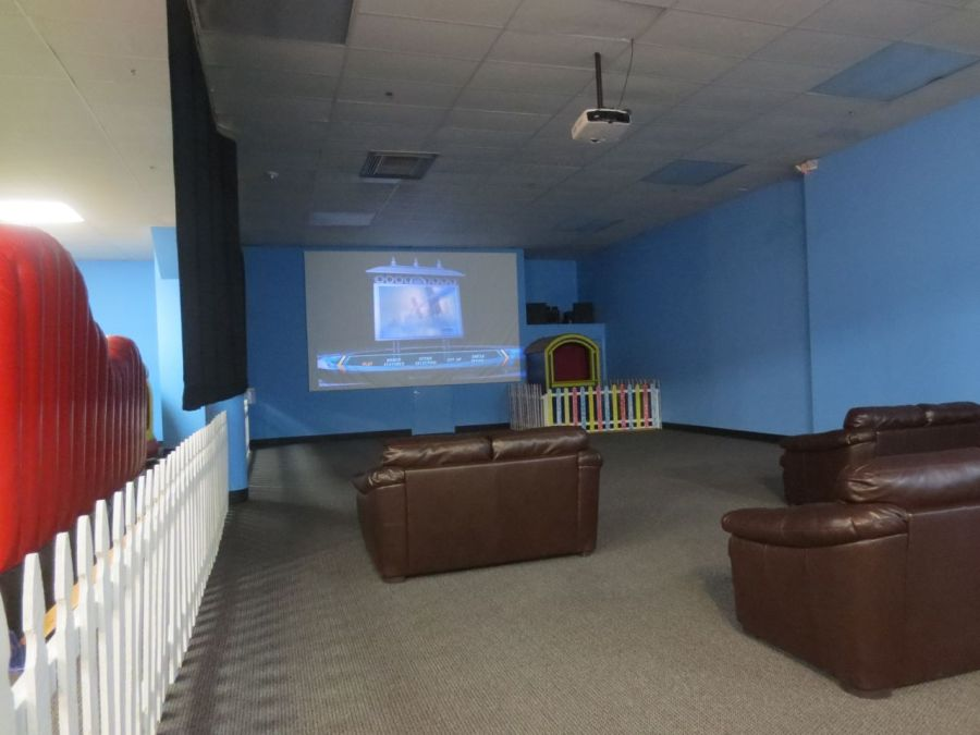 Movie theater at Inflatable Wonderland | San Antonio Charter Moms