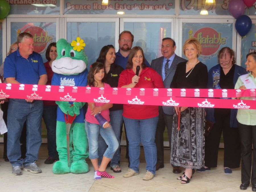 Ribbon cutting at Inflatable Wonderland   San Antonio Charter Moms