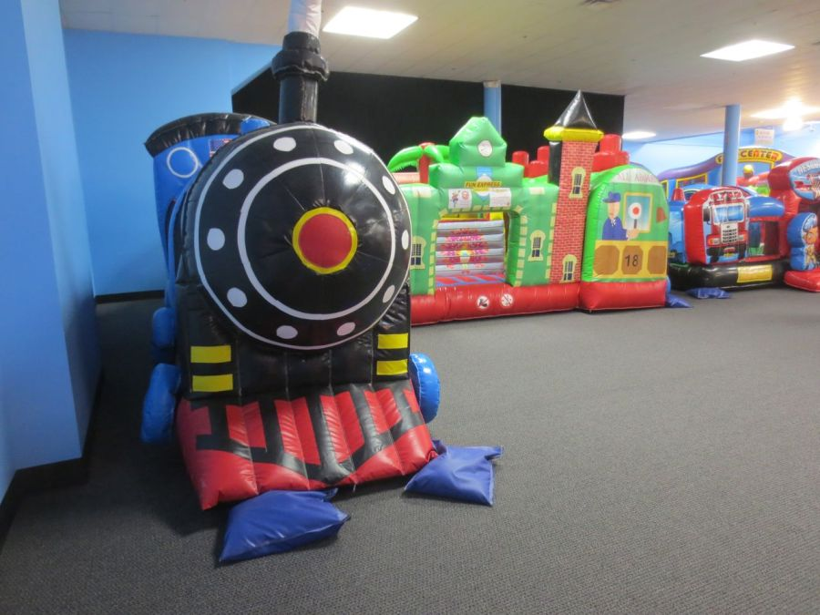 Train in toddler zone at Inflatable Wonderland | San Antonio Charter Moms