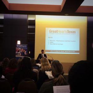 Peter Bezanson, Great Hearts Texas Superintendent, at lottery | San Antonio Charter Moms