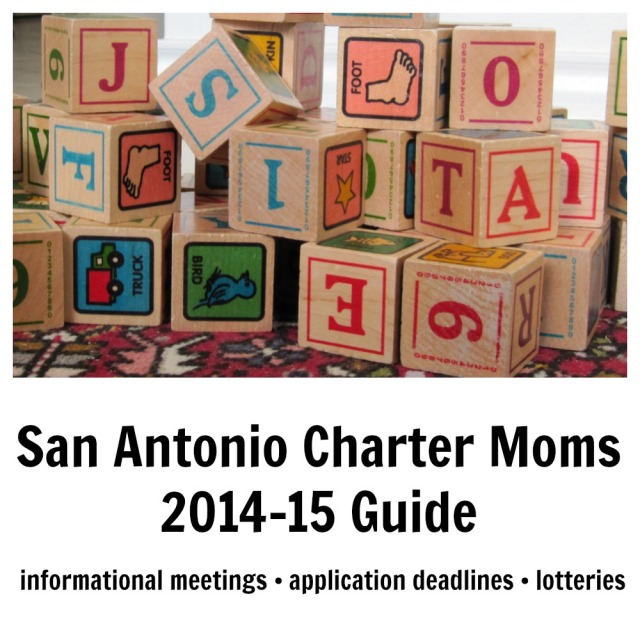 January 8 edition of the San Antonio Charter Moms 2014-15 guide to informational meetings, application deadlines, and lotteries