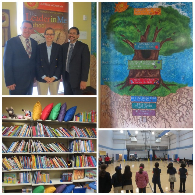 Jubilee Academic Center leadership, 7 Habits mural, gym, and library | San Antonio Charter Moms