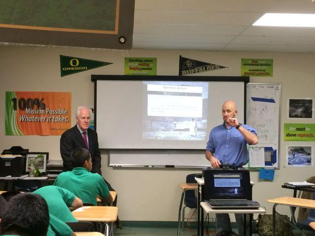 Senator John Cornyn visiting a classroom at KIPP University Prep | San Antonio Charter Moms