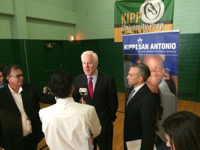 Senator John Cornyn talks to the press at KIPP University Prep | San Antonio Charter Moms