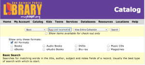 Basic search in the San Antonio Public Library online catalog | San Antonio Charter Moms