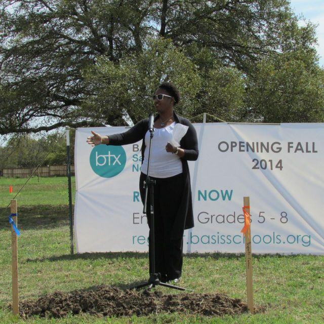 Dr. Abigail Hasberry at BASIS San Antonio North groundbreaking | San Antonio Charter Moms