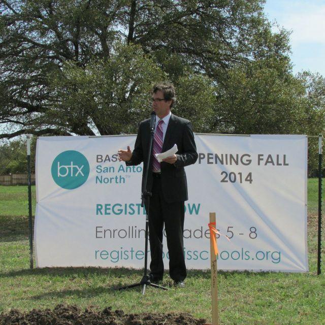 Dan Nienhauser, Superintendent, BASIS TX, at BASIS San Antonio North groundbreaking | San Antonio Charter Moms