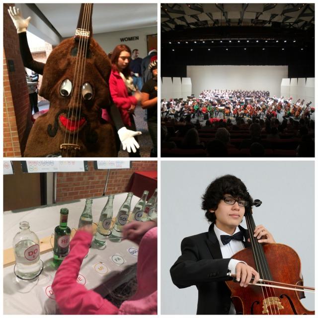 Count Bassie, San Antonio Symphony, YOSA concerto winner Michael Villarreal cello, Instrument Petting Zoo   San Antonio Charter Moms
