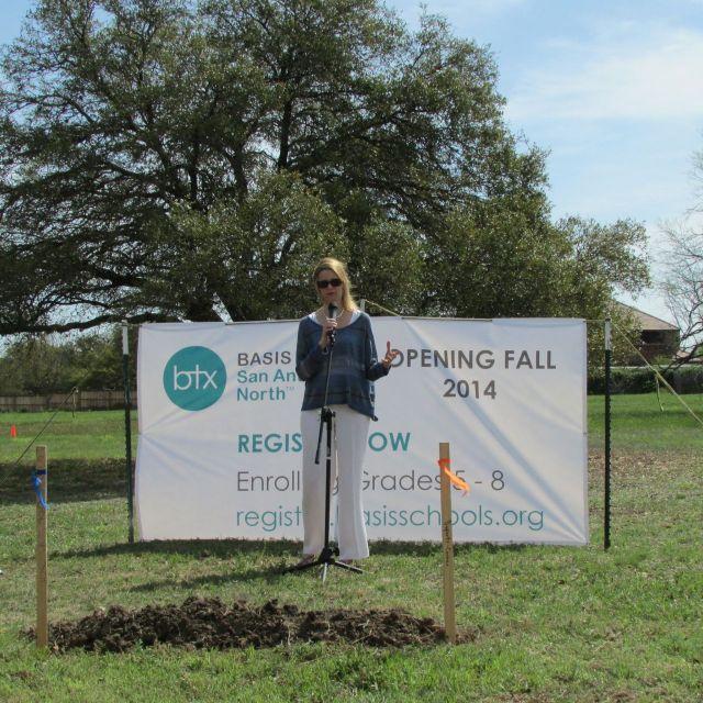 Victoria Rico, Brackenridge Foundation, at BASIS San Antonio North groundbreaking | San Antonio Charter Moms