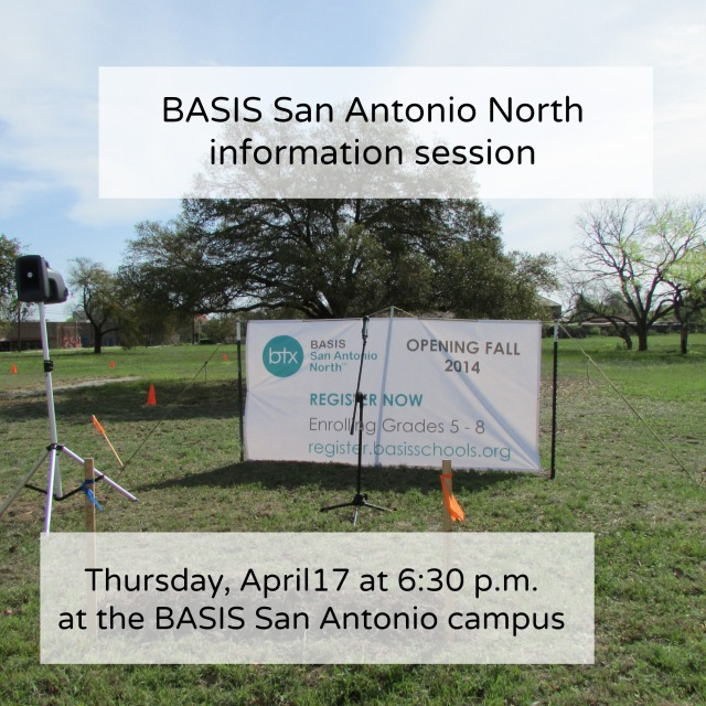 BASIS San Antonio North info session April 17 | San Antonio Charter Moms