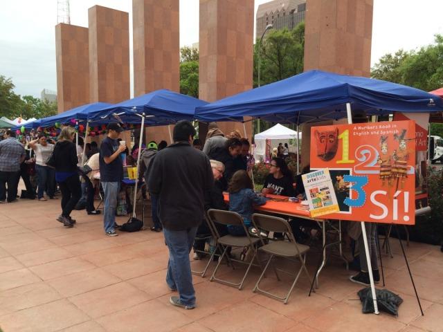 Activities on the plaza at the San Antonio Book Festival | San Antonio Charter Moms