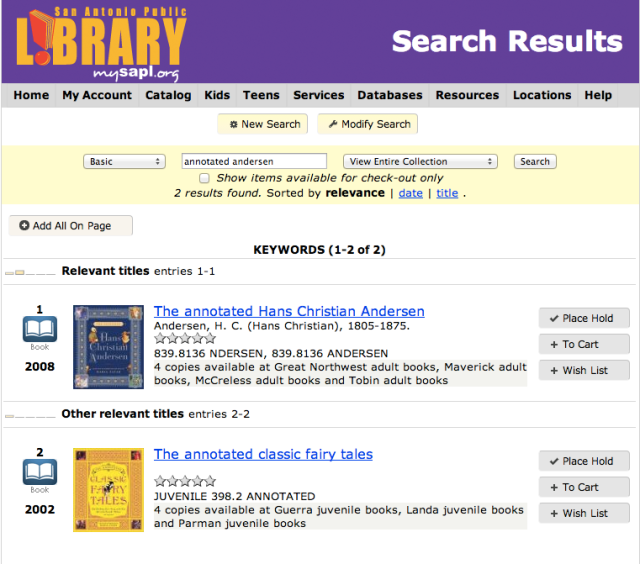 Searching for fairy tales in the San Antonio Public Library catalog | San Antonio Charter Moms