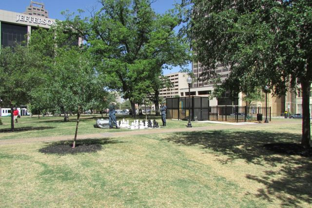 Chess set and dog park at Travis Park, downtown San Antonio | San Antonio Charter Moms