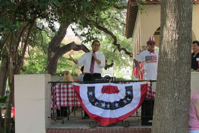 Diego Bernal, District 1, San Antonio City Council, at the Monte Vista Historical Association 4th of July picnic | San Antonio Charter Moms