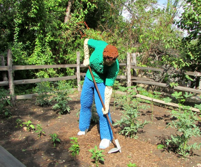 Gardener by Sean Kenney at Nature Connects Art with LEGO Bricks, San Antonio Botanical Garden | San Antonio Charter Moms