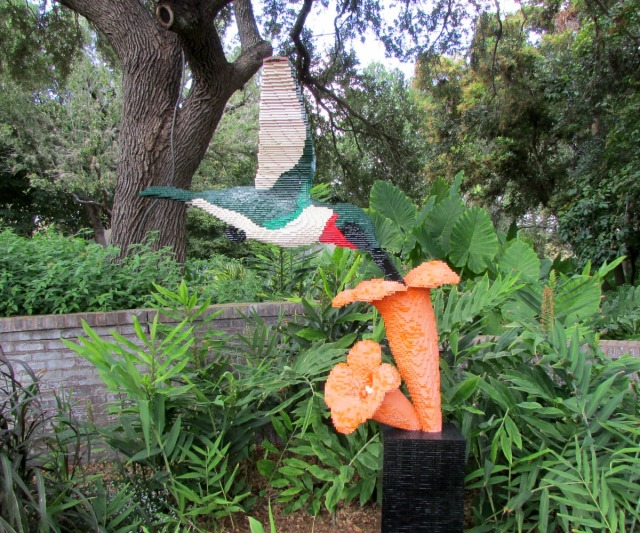 Hummingbird and flower by Sean Kenney at Nature Connects Art with LEGO Bricks, San Antonio Botanical Garden | San Antonio Charter Moms