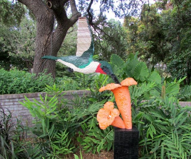 Hummingbird and flower by Sean Kenney at Nature Connects Art with LEGO Bricks, San Antonio Botanical Garden | San Antonio Charter Moms