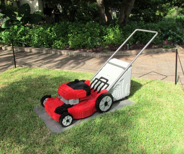 Lawnmower by Sean Kenney at Nature Connects Art with LEGO Bricks, San Antonio Botanical Garden | San Antonio Charter Moms