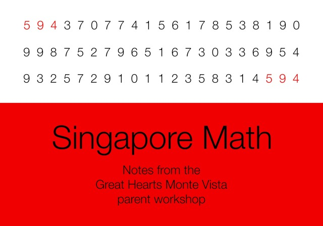Singapore Math: Notes from the Great Hearts Monte Vista parent workshop | San Antonio Charter Moms