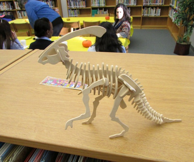 dinosaur model in the library at Lamar Elementary | San Antonio Charter Moms