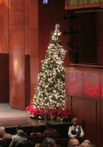 Christmas tree on stage the San Antonio Symphony's Holiday Pops at the Tobin Center | San Antonio Charter Moms