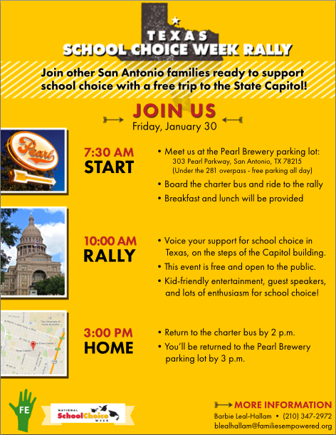 Texas School Choice Week Rally - January 30, 2015 | San Antonio Charter Moms