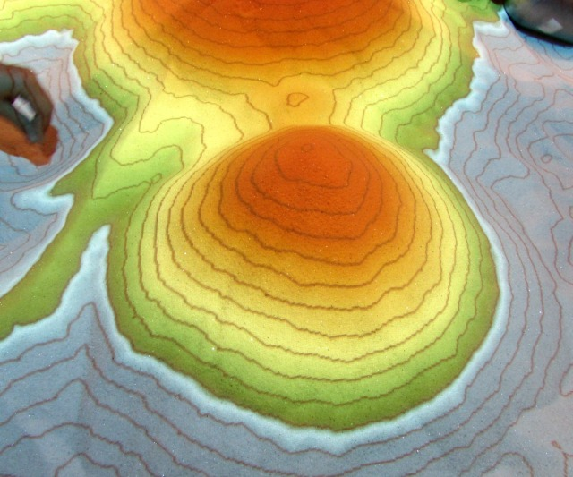Hill Country Science Mill Dig In! exhibit colorful topographic map | San Antonio Charter Moms