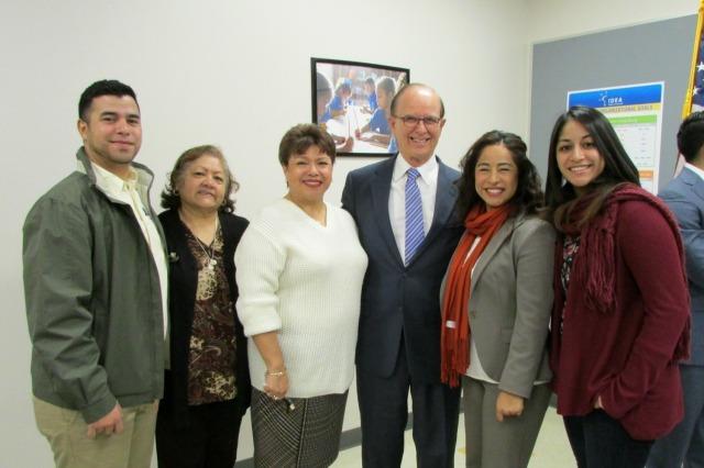 Judge Nelson Wolff, SBOE member Marisa B. Perez, and her family | San Antonio Charter Moms