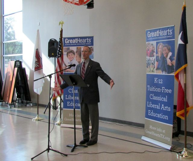 District 10 City Councilman Mike Gallagher at Great Hearts Northern Oaks ribbon-cutting ceremony | San Antonio Charter Moms