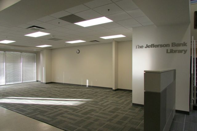 The Jefferson Bank Library - ready for books - at Great Hearts Northern Oaks | San Antonio Charter Moms