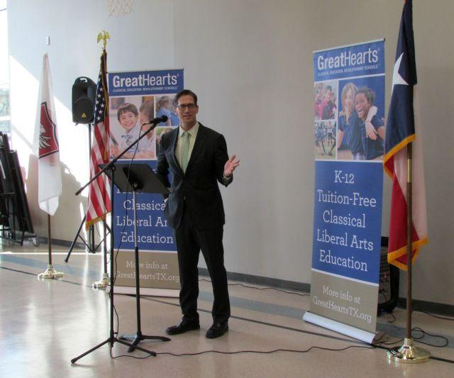 Dr. Dan Scoggin, CEO of Great Hearts Texas, at Great Hearts Northern Oaks ribbon-cutting ceremony | San Antonio Charter Moms