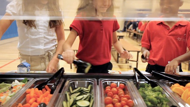 Legacy Traditional School lunch salad bar | San Antonio Charter Moms