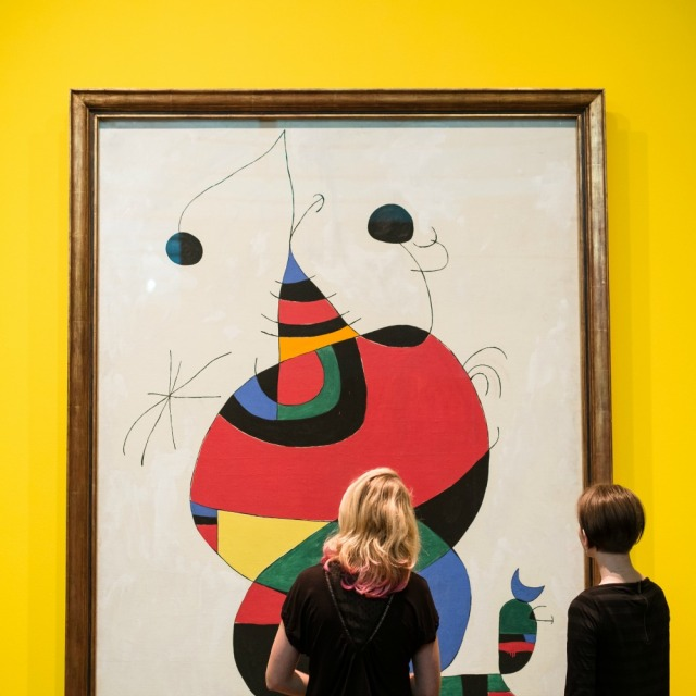 "Joan Miró, ""Woman, Bird and Star (Homage to Picasso)"" (1966) at ""Miró: The Experience of Seeing"" at the McNay Art Museum, photo by Josh Huskin 