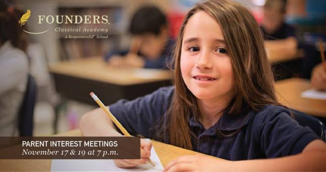 Founders Classical Academy Schertz parent interest meetings November 17 & 19 | San Antonio Charter Moms